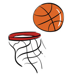 a basketball and net or color vector image