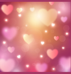 Abstract romantic background with hearts and bokeh vector