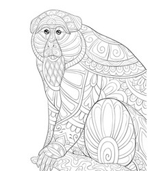 Adult coloring bookpage a cute monkey vector