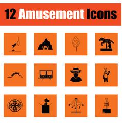 Amusement park icon set vector