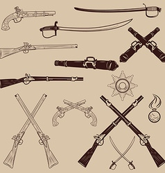 Ancient weapon Ax sword sabers grenades vector image