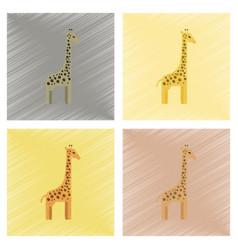 Assembly flat shading style icons cartoon giraffe vector