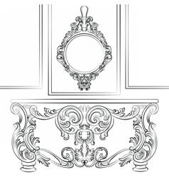 Baroque classic furniture set vector