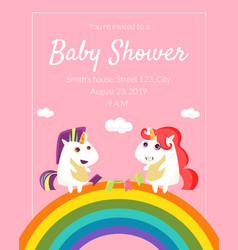 Bashower invitation template cute card with vector