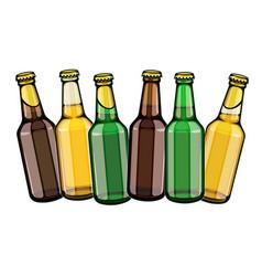 Beer bottles row set vector