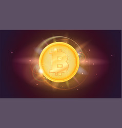 Bitcoin golden coin the symbol of the crypto vector