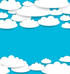Blue background with white clouds vector image