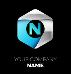 blue letter n logo in the silver-blue hexagonal vector image