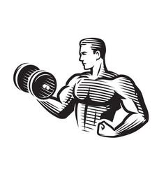 Bodybuilder strong muscular man pumping up biceps vector