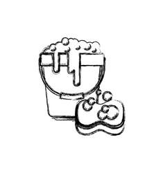 bucket with foam detergent and sponge in vector image