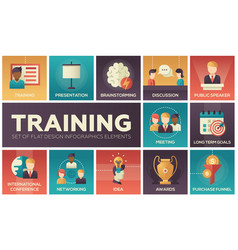 Business training - flat design icons set vector