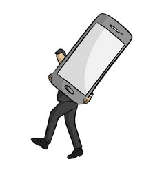 businessman carrying big mobile phone vector image