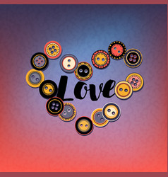 button heart on colorful vector image
