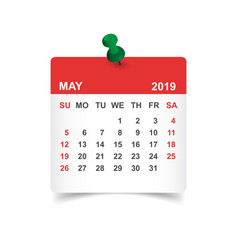 Calendar may 2019 year in paper sticker with pin vector