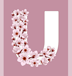 Capital letter u patterned with cherry blossom vector