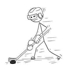cartoon drawing ice hockey player vector image