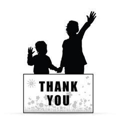 children with card thank you and flowers set vector image
