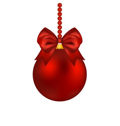 christmas red ball with bow on a white vector image
