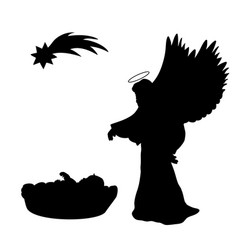 christmas silhouette baby and angel christmas vector image