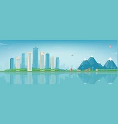 City landscape and suburban landscape building vector
