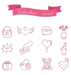 Collection of valentine element icons vector