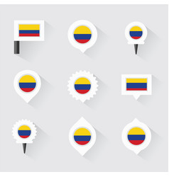 Colombia flag and pins for infographic and map vector