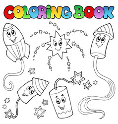 Coloring book fireworks theme 2 vector