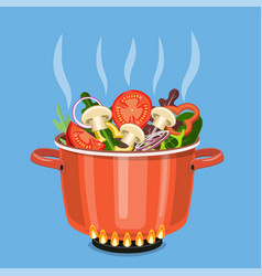 cooking pot on stove with vegetables vector image