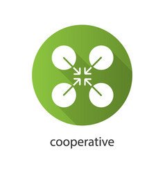 cooperative symbol flat design long shadow glyph vector image
