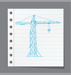 crane working doodle style vector image
