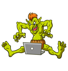 Crazy cyber troll with laptop vector