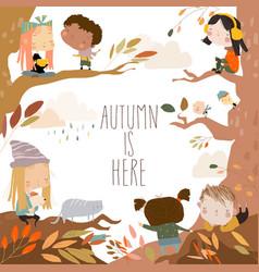 Cute cartoon children having fun in autumn forest vector