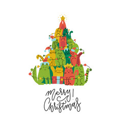 cute green and red cats christmas tree silhouette vector image