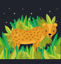 Cute jaguar cartoon vector