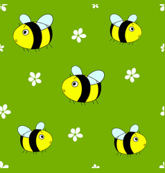 Cute seamless pattern with cartoon bumble bees vector