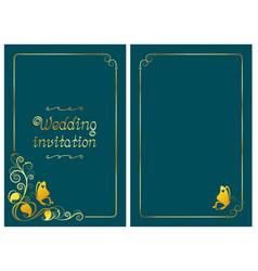Dark cyan wedding invitation card foil design vector