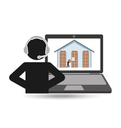 delivery call centre operator online warehouse vector image