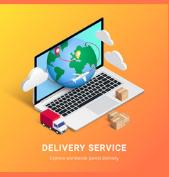 Delivery service isometric design laptop vector
