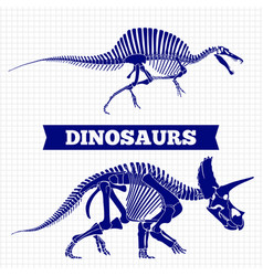 Dinosaurs skeletons on notebook page background vector