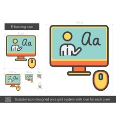E-learning line icon vector