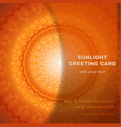 Ector greeting card with round pattern orange card vector