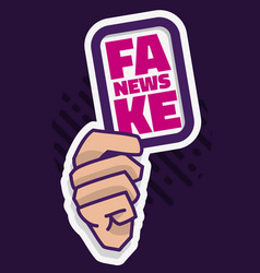 Fake news a hand hold a card media vector