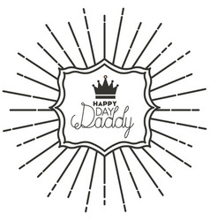 Fathers day frame sunburts with king crown vector