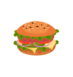 Flat icon of appetizing sandwich tasty vector