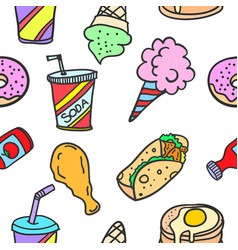 Food and drink of doodles vector