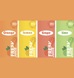 fresh juice labels vector image
