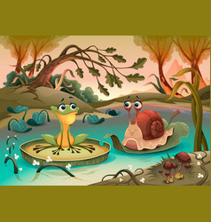 friendship between frog and snail vector image