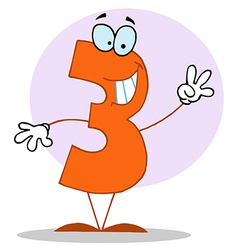Funny Cartoon Friendly Number 3 Three Guy vector image