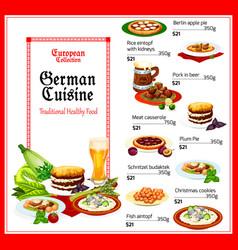 german cuisine healthy food menu vector image