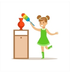 Girl Wiping The Dust From Vase With Brush Smiling vector